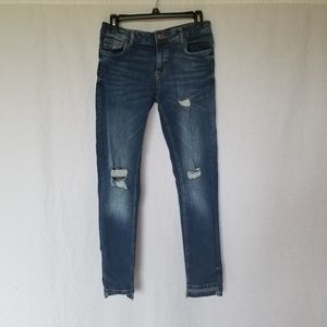 ZARA BASIC DENIM SKINNY DISTRESSED ANKLE JEANS 6
